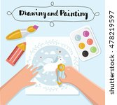 painting and drawing kids...   Shutterstock .eps vector #478219597