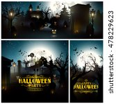 vector set of three halloween... | Shutterstock .eps vector #478229623
