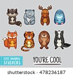 set of stickers with cute... | Shutterstock .eps vector #478236187