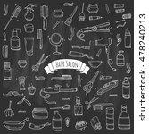 hand drawn doodle hair salon... | Shutterstock .eps vector #478240213
