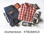 overhead view of men's casual... | Shutterstock . vector #478268413