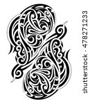 symmetry maori tattoo shape | Shutterstock .eps vector #478271233