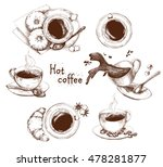 hand drawn collection of cups... | Shutterstock .eps vector #478281877