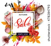 Sale Banner With Autumn Leaves...