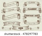 Vector vintage labels and banners collection. Classic art ribbon illustration | Shutterstock vector #478297783