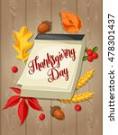 thanksgiving day greeting card. ... | Shutterstock .eps vector #478301437