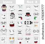 set of cartoon faces with... | Shutterstock .eps vector #478309777