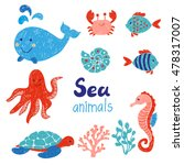 sea animals set in red and blue ... | Shutterstock .eps vector #478317007