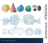 detailed fish and shell set ... | Shutterstock .eps vector #478323643