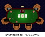 Online poker table with flop revealed in a game of Texas Hold 'Em - stock photo