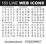 vector set of 150 flat line web ... | Shutterstock .eps vector #478339807