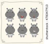 vector set cute hippo.... | Shutterstock .eps vector #478347913