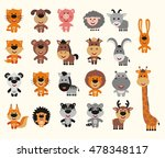 set of funny animals in cartoon ... | Shutterstock .eps vector #478348117
