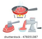 cooking meat set. fry the steak ... | Shutterstock .eps vector #478351387