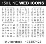vector set of 150 flat line web ... | Shutterstock .eps vector #478357423