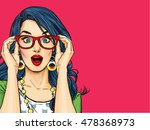 Surprised Pop Art girl  in glasses. Party invitation. Birthday card. Hollywood, Comic woman. Sexy girl. Amazed woman. Sale, wow, cute, lips, hippie, face, wonder, temptation, swag, shock, gossip, look