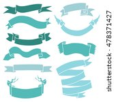 vector set of turquoise ribbons ... | Shutterstock .eps vector #478371427
