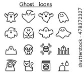 ghost   spooky icon set in thin ...   Shutterstock .eps vector #478372327