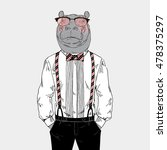 hippo dressed up in classy... | Shutterstock .eps vector #478375297