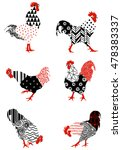 Roosters With Graphic Patterns...