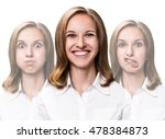 young woman makes fun faces | Shutterstock . vector #478384873