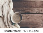 Cup Of Hot Coffee On Rustic...