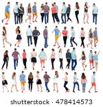 collection back view people.... | Shutterstock . vector #478414573