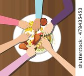 eat together many hands one... | Shutterstock .eps vector #478435453