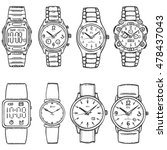 vector set of sketch wrist... | Shutterstock .eps vector #478437043