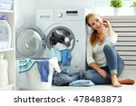 happy woman housewife in the... | Shutterstock . vector #478483873