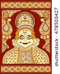 foral background with kathakali ... | Shutterstock .eps vector #478503427