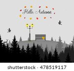 hello autumn. light post with... | Shutterstock .eps vector #478519117