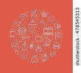 vector set of movie genres line ... | Shutterstock .eps vector #478545313