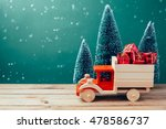 christmas toy truck with gift... | Shutterstock . vector #478586737