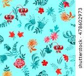 watercolor meadow flowers... | Shutterstock . vector #478602973