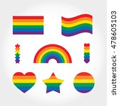 rainbow flag set. lgbt gay and...