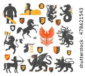 set of heraldic animals and... | Shutterstock .eps vector #478621543