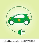 electric car symbol with flash... | Shutterstock .eps vector #478624003