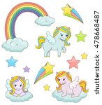 a set of cute magic pegasus... | Shutterstock . vector #478668487