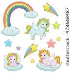 a set of cute magic pegasus...   Shutterstock . vector #478668487