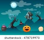 fantasy landscape halloween.... | Shutterstock .eps vector #478719973
