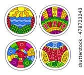 doodles filled circles set.... | Shutterstock .eps vector #478723243