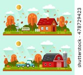 flat design vector autumn... | Shutterstock .eps vector #478729423