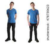 cute teenager boy in blue t... | Shutterstock . vector #478730623