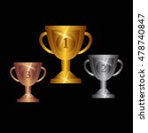 gold  silver and bronze trophy... | Shutterstock .eps vector #478740847