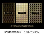 golden vintage pattern on black ... | Shutterstock .eps vector #478749547