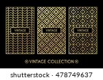 golden vintage pattern on black ... | Shutterstock .eps vector #478749637