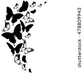 black butterflies isolated on a ... | Shutterstock .eps vector #478809943