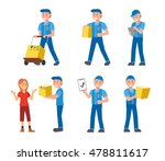 flat style delivery man in... | Shutterstock .eps vector #478811617