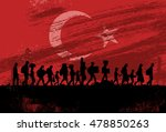 silhouette of refugees walking... | Shutterstock .eps vector #478850263